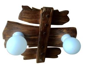 состаренный деревянный светильник с двумя плафонами