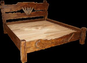 кровать из состаренного дерева с канатами