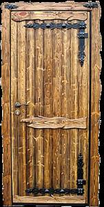 дверь славянская под старину с ковкой