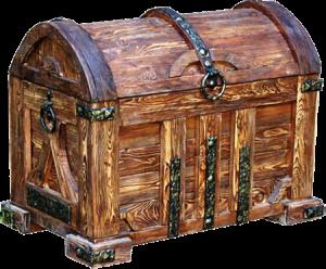сундук из дерева под старину с ковкой