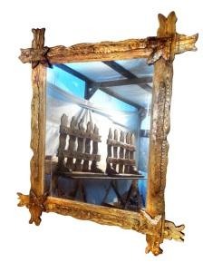 зеркало прямоугольное из состаренной сосны