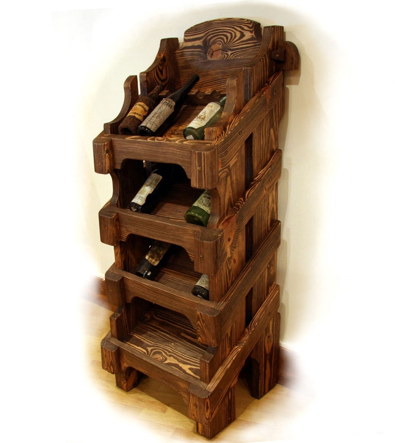 стеллаж под вино из состаренной сосны