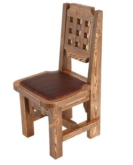 стул с обивкой сидения из состаренной сосны