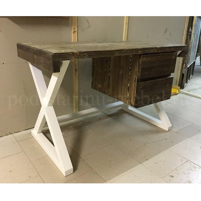 стол в стиле лофт из массива и металла в сером цвете