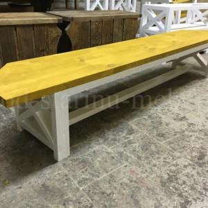 лавка в стиле лофт ассиметричная желтая/белая