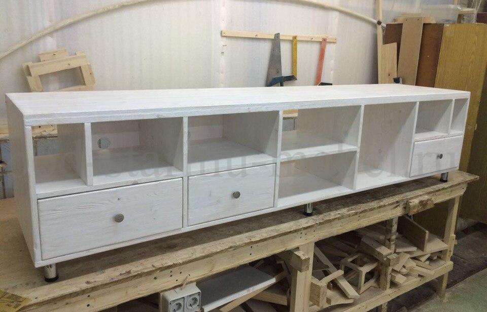 Комод в стиле лофт из массива с ковкой открытые ящики
