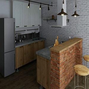 Кухня в стиле лофт из массива дерева
