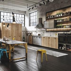 Кухня из массива дерева в стиле лофт