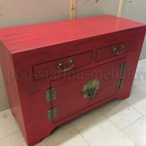 Комод красный из массива дерева в китайском стиле
