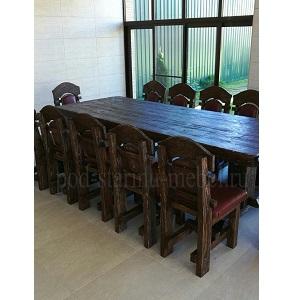 Комплект мебели из массива сосны под старину: стол Премьер, 12 стульев Премьер