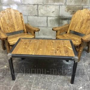 Комплект мебели из массива дерева: кресла и журнальный столик в стиле лофт