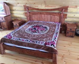 Кровать Императрица из массива сосны под старину