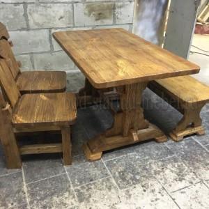 Комплект мебели из массива сосны под старину: стол Премьер, 2 стула Премьер, лавка Ретро, 2 табурета Лесник