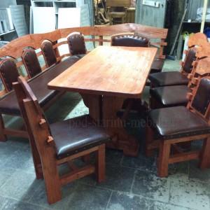 Комплект мебели из массива сосны под старину: стол Премьер, 4 стула Премьер, скамья Премьер угловая