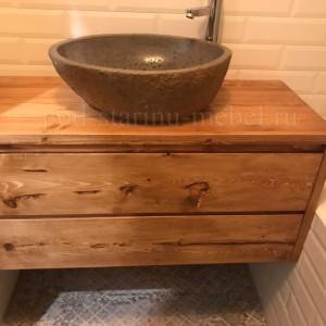 тумба для ванной комнаты подвесная из массива сосны