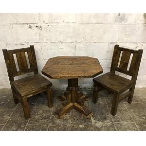 Комплект под старину квадратный стол и два стула