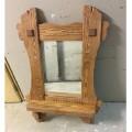 Зеркало с полочкой из массива сосны под старину